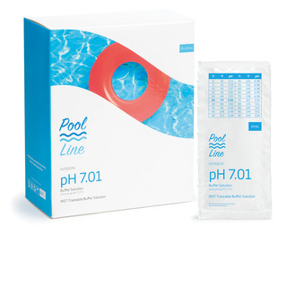 Solution tampon pH 7 01  25 sachets de 20 mL - Pool Line